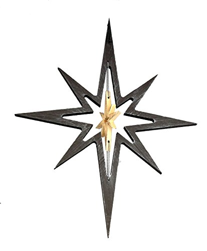 Creative Co-op Wooden North Star Christmas Ornament