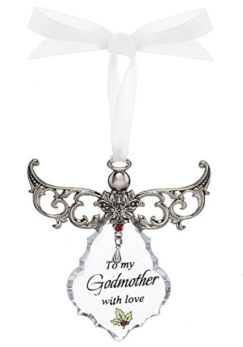 To My Godmother Clear Angel Ornament