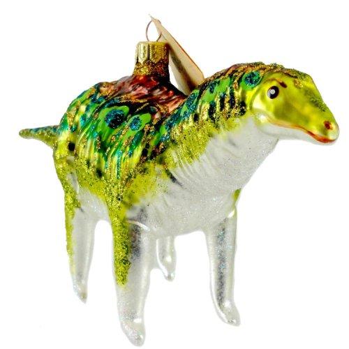 Christina's World LIME GREEN HADROSAUR Blown Glass Dinosaur Ornament ZOO904