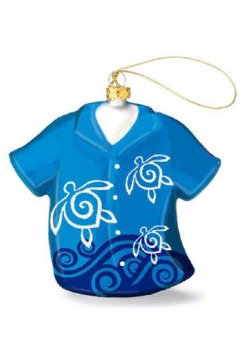 Island Heritage Honu Swirl Aloha Shirt Collectible Glass Ornament