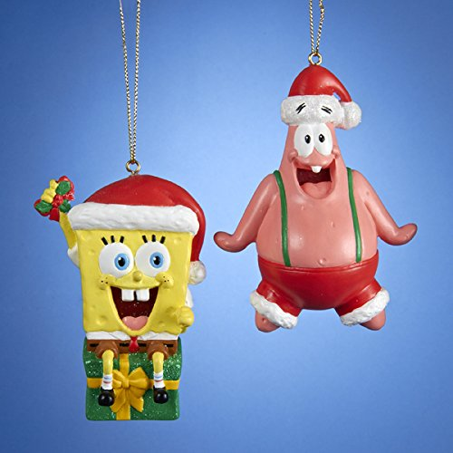 Kurt Adler Spongebob and Patrick with Hat Ornament, Set of 2 – SB1151