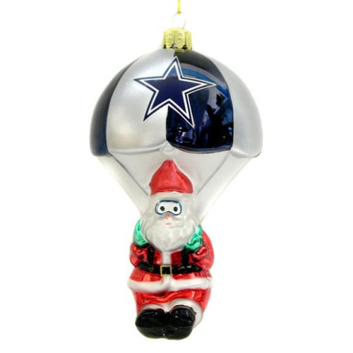 Dallas Cowboys Blown Glass Parachuting Santa Ornament