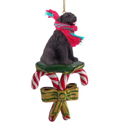NEWFOUNDLAND Dog Black Resin Newfie CANDY CANE Christmas Ornament NEW DCC30