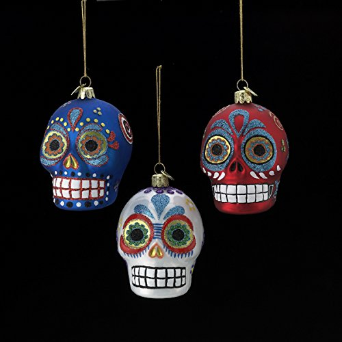 Noble Gems Glass Sugar Skull Ornaments (set Of 3 Assorted)