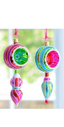 Glitterville Reflector Finial Ornaments (Set of 2)