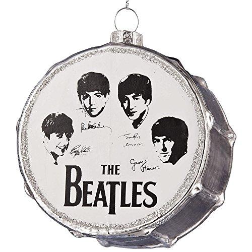 Kurt Adler Glass Beatles Silver Drum Ornament, 3-Inch