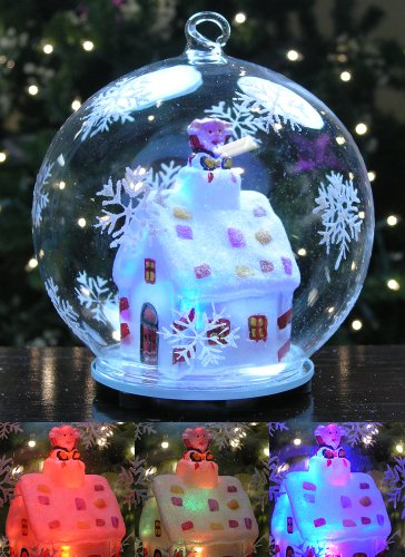 LED Christmas Glass Globe Ornament Santa Claus in Chimney of Lit Cottage House with Hand Painted Snowflakes Collectible