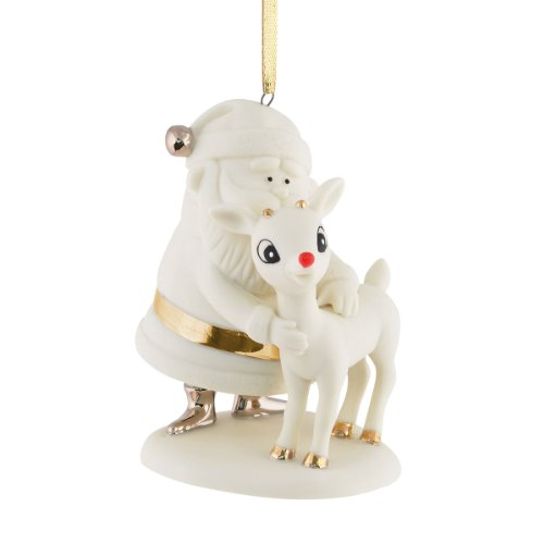 Department 56 Rudolph Rudolph and Santa Bisque Ornament, 3.35-Inch