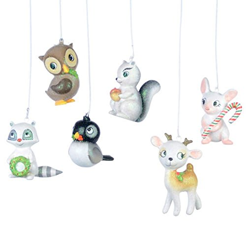 Set 6 2.5″ Woodland Creatures Cute Resin Christmas Ornament