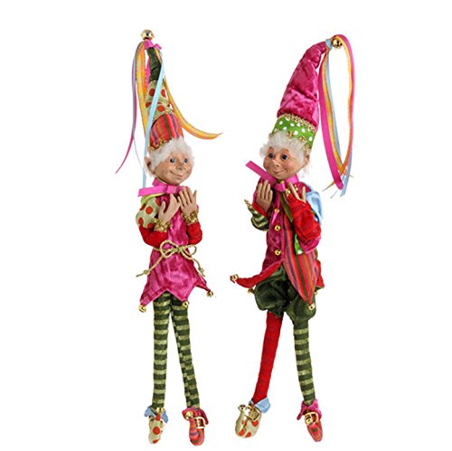 "RAZ Imports 15″ Posable Elf Set of 2 ""Candy Sprinkles"" Christmas Collection 3102410"