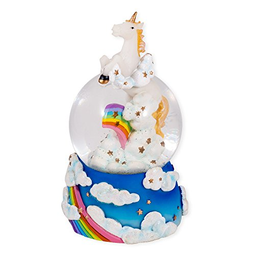 Unicorn Leaping Over the Rainbow Glass Musical Snow Globe Plays Song The Unicorn