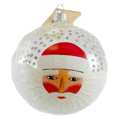 Christina's World CLEARLY WINDSWEPT SANTA Glass Ornament Ball Christmas TRA422