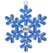 """2014"" Blue Snowflake Harvey LewisTM Silver-plated Ornament – Made with Swarovski® Elements"