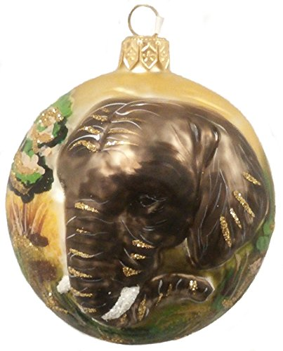 Christinas World Elephant Figural Diorama Polish Blown Glass Christmas Ornament