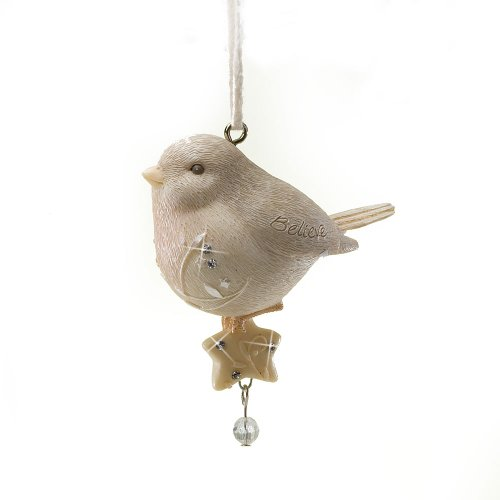 Enesco Foundations Believe Bird with Star Ornament, 3.35-Inch