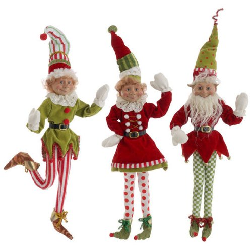 "RAZ Imports 21″ Posable Elf Set of 3 ""Snow Biz"" Christmas Collection 3202686"