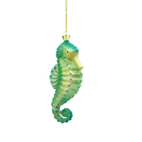 5.25″ Noble Gems Under the Sea Tropical Green Seahorse Glass Christmas Ornament