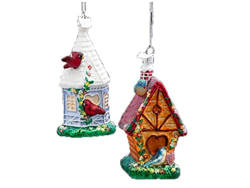 Noble Gems Glass Birdhouse Ornaments- 2 Assorted