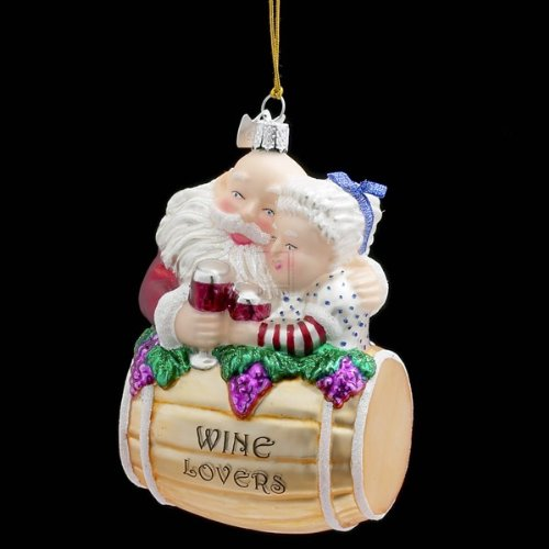 Kurt Adler 4-1/4-Inch Noble Gems Glass Mr. and Mrs. Santa with Wine Barrel Ornament