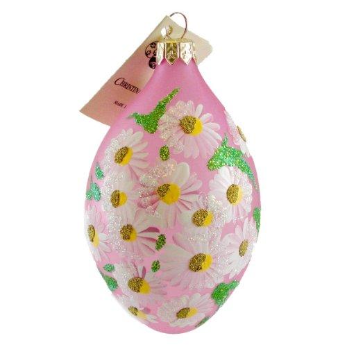 Christina's World DAISY EGG Blown Glass Ornament Easter EGG028 PINK