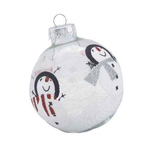 Kurt Adler Snowman Glass Ball Ornament, 65mm, Set of 4