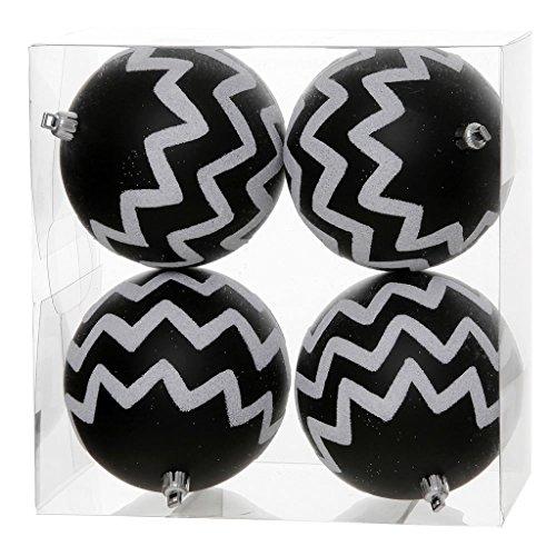 Vickerman Chevron Glitter Ball Ornaments, 4-Inch, Black and White, 4-Pack