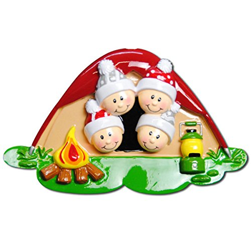 Pop Up Tent Face Family of 4 Personalized Christmas Tree Ornament