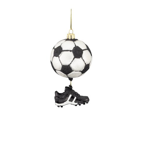 Kurt Adler 3-1/2-Inch Noble Gems Glass Soccer Ball with Shoe Dangle Ornament