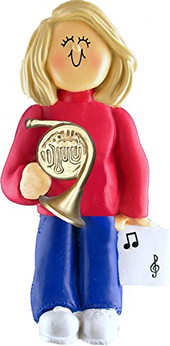 Music Treasures Co. Female Musician French Horn Ornament – Blonde