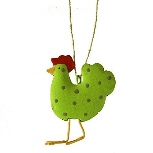 Lime Green Polka Dot Chicken Hanging Christmas Tree Ornament