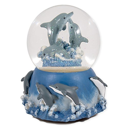 Dolphins Playing in the Ocean Waves Glass Musical Snow Globe Plays Song Blue Danube Waltz