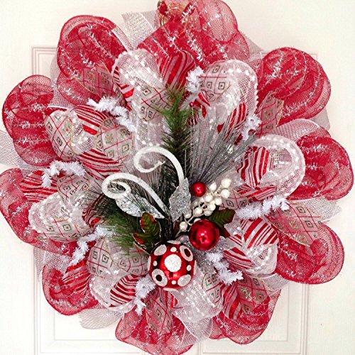 Red, Silver, White Raz Ornament Spray Holiday Handmade Deco Mesh Wreath