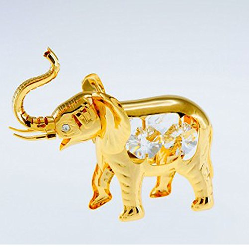 Elephant 24k Gold Plated Spectra Crystals by Swarovski Tabletop Statue Ornament Figurine