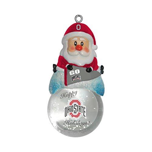 NCAA Ohio State Buckeyes Snow Globe Ornament, Silver, 1.5″
