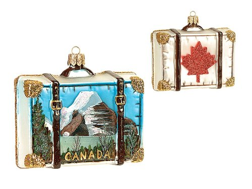 Canada Travel Suitcase Polish Mouth Blown Glass Christmas Ornament