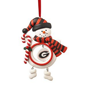 Georgia Bulldogs Clay Snowman Ornament