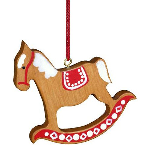 Alexander Taron Importer 10-0387 Christian Ulbricht Ornament, Rocking Horse Red/Brown