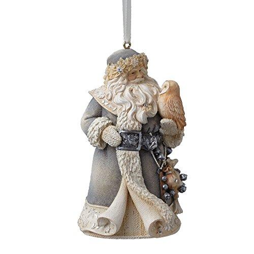 Enesco Foundations Santa w/Owl Ornament 4.13 IN