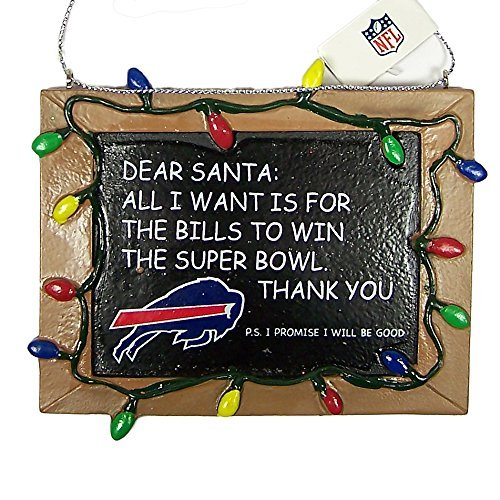 Buffalo Bills Official NFL 3 inch x 4 inch Chalkboard Sign Christmas Ornament
