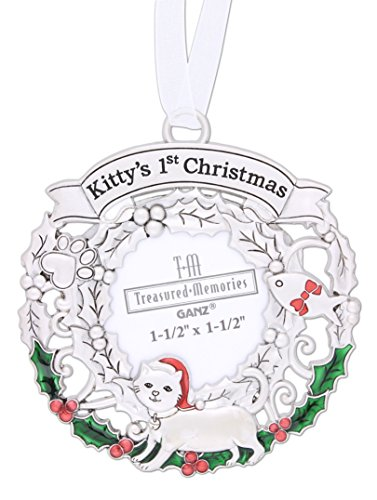 "Ganz 3"" Silver Tone Pets 1st Christmas Ornament (""Kitty's 1st Christmas"" with Picture)"