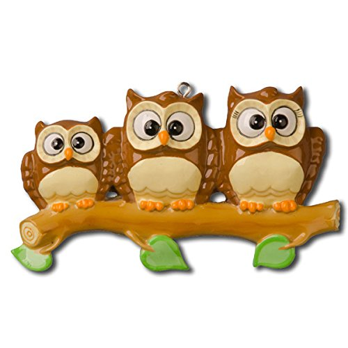 Owl Family on Branch 3 Personalized Christmas Ornament
