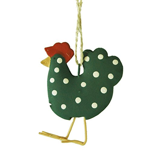 Forest Green Polka Dot Chicken Hanging Christmas Tree Ornament
