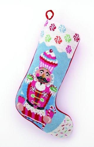 Glitterville Christmas Cupcake & Nutcracker Stocking, Wool, Needlepoint