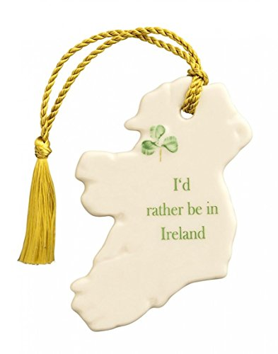 Belleek 3994 'I'd Rather be in Ireland' Ornament, 3.1-Inch, White
