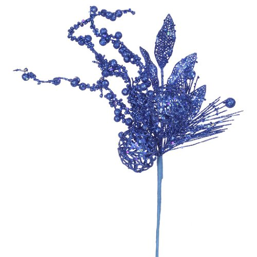 Vickerman 31783 – 20″ Blue Glitter Ball Pine Spray (J131802)