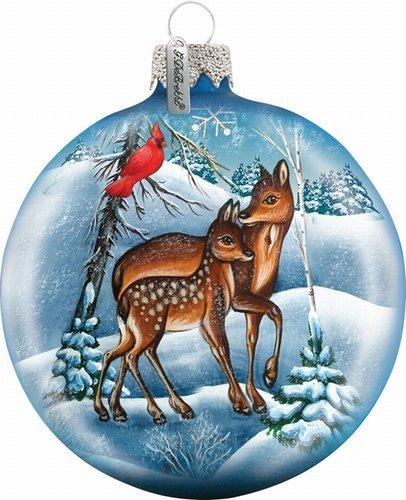 G. Debrekht Deers Crossing Glass Ball Ornament, 3.5″