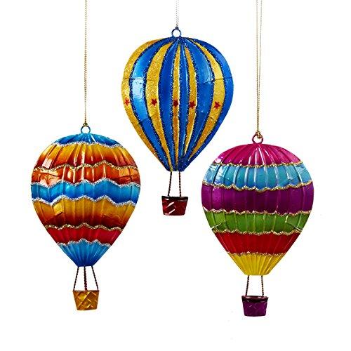 Kurt Adler 5″ Tin Hot Air Balloon Ornament Set OF 3