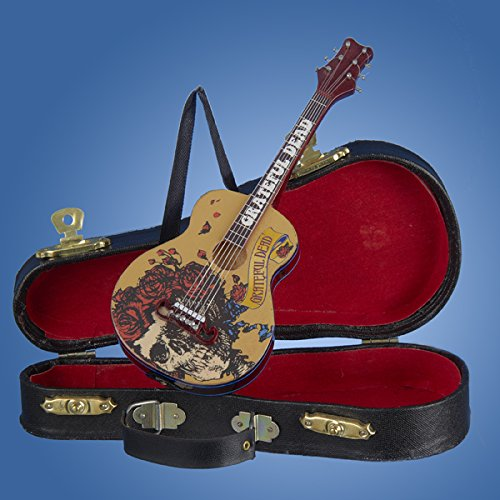 Kurt Adler Grateful Dead Guitar Ornament with Guitar Case, 5.5″