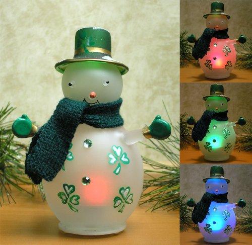 Irish Snowman – LED Lighted Glass Snowman with Painted Shamrocks – Colorful Snowman – Irish Decoration – Irish Gift – Snowman