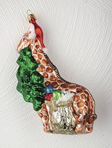 Christinas World Figural Giraffe Polish Mouth Blown Glass Christmas Ornament